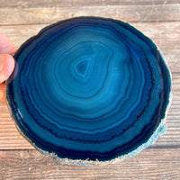 "Set of 4 Large Blue Agate Coasters (Approx. 4.25"" Long), Geode Quartz Crystal"