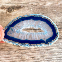 "Set of 4 Blue Agate Slices (~3.0 - 3.5"" Long) w/ Quartz Crystal Geode Centers"