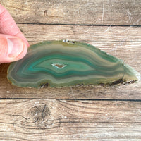 "Green Agate Slice (Approx 4.15"" Long) w/ Quartz Crystal Druzy Geode Center"