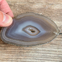 "Natural Agate Slice (Approx 3.3"" Long) w/ Quartz Crystal Druzy Geode Center"