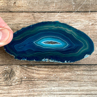 "Blue Agate Slice (Approx 4.0"" Long) with Quartz Crystal Druzy Geode Center"