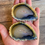 "Set of 2 Natural Agate Slices (Approx 3.0"" Long) w/ Crystal Druzy Geode Center"