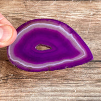 "Purple Agate Slice (Approx 3.0"" Long) with Crystal Druzy Geode Center"