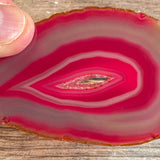"Pink Agate Slice (Approx 3.35"" Long) with Quartz Crystal Druzy Geode Center"