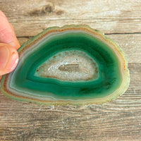 "Green Agate Slice (Approx 3.35"" Long) w/ Quartz Crystal Druzy Geode Center"