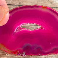 "Pink Agate Slice (Approx 3.2"" Long) with Quartz Crystal Druzy Geode Center"