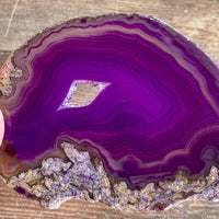 "Purple Agate Slice (Approx 3.15"" Long) with Crystal Druzy Geode Center"