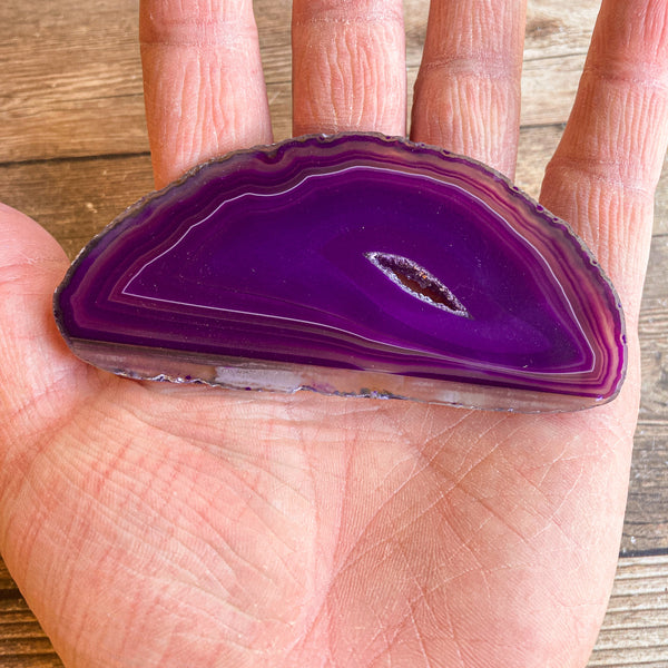 "Purple Agate Slice (Approx 3.75"" Long) with Crystal Druzy Geode Center"