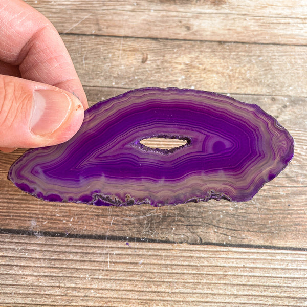 "Purple Agate Slice (Approx 3.8"" Long) with Crystal Druzy Geode Center"