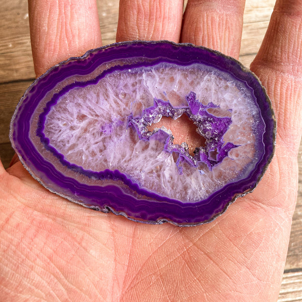"Purple Agate Slice (Approx 3.1"" Long) with Crystal Druzy Geode Center"