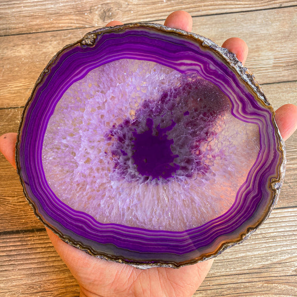 "Large Purple Agate Slice - Approx 6.3"" Long - Large Agate Slice"
