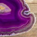 "Large Purple Agate Slice (Approx 5.35"" Long) w/ Quartz Crystal Druzy Geode Center - Large Agate Slice"