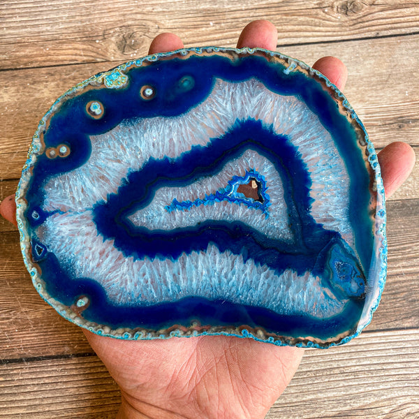 "Extra Large Blue Agate Slice (Approx 6.5"" Long) w/ Quartz Crystal Druzy Geode Center - Large Agate Slice"