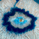 "Extra Large Blue Agate Slice (Approx 6.15"" Long) w/ Quartz Crystal Druzy Geode Center - Large Agate Slice"