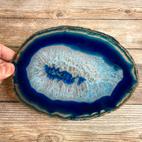 "Extra Large Blue Agate Slice (Approx 7.0"" Long) - Large Agate Slice"