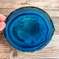 "Large Blue Agate Slice - Approx 4.9"" Long - Large Agate Slice"