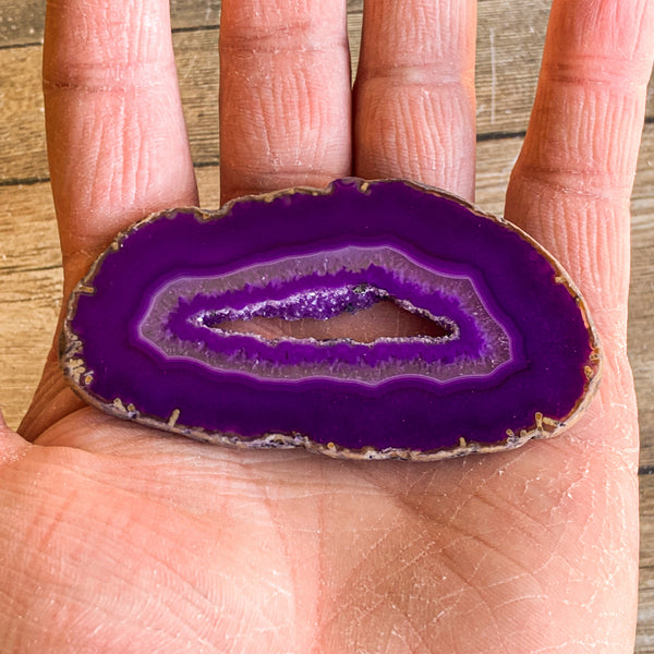 "Purple Agate Slice (Approx 3.2"" Long) with Crystal Druzy Geode Center"