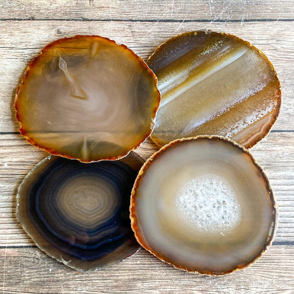 "Set of 4 Large Natural Agate Coasters (Approx. 3.65"" Long), Geode Quartz Crystal"
