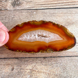 "Set of 4 Natural Agate Slices (~2.85 - 3.35"" Long) w/ Quartz Crystal Geode Centers"