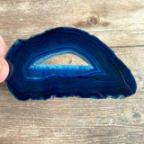 "Blue Agate Slice (Approx 3.65"" Long) with Quartz Crystal Druzy Geode Center"