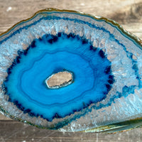 "Blue Agate Slice (Approx 2.8"" Long) with Quartz Crystal Druzy Geode Center"