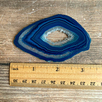 "Blue Agate Slice (Approx 3.25"" Long) with Quartz Crystal Druzy Geode Center"