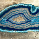 "Blue Agate Slice (Approx 3.55"" Long) with Quartz Crystal Druzy Geode Center"