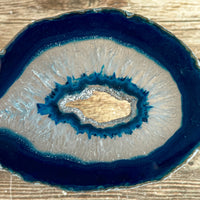 "Blue Agate Slice (Approx 3.35"" Long) with Quartz Crystal Druzy Geode Center"