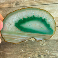 "Green Agate Slice: Approx 3.45"" Long, Geode Quartz Crystal"