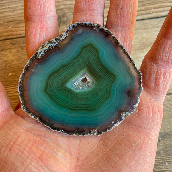 "Green Agate Slice (Approx 2.85"" Long) w/ Quartz Crystal Druzy Geode Center"