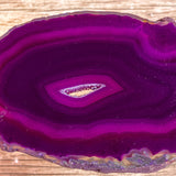 "Purple Agate Slice (Approx 3.35"" Long) with Quartz Crystal Druzy Geode Center"
