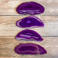 "Set of 4 Purple Agate Slices: Approx. 3.85 - 4.25"" Long, Quartz Crystal Geode"
