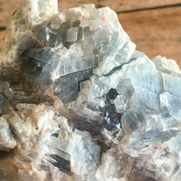 "Mexican Raw Natural Blue Calcite Stone: 3.8"" Long, 1 lb 0.6 oz (468 g) Rough Mineral"
