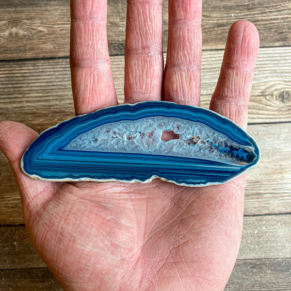 "Blue Agate Slice (Approx 4.65"" Long) with Quartz Crystal Druzy Geode Center"