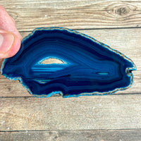 "Blue Agate Slice (Approx 3.85"" Long) with Quartz Crystal Druzy Geode Center"