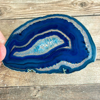 "Blue Agate Slice (Approx 3.75"" Long) with Quartz Crystal Druzy Geode Center"