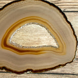 "Natural Agate Slice (Approx 3.25"" Long) w/ Quartz Crystal Druzy Geode Center"