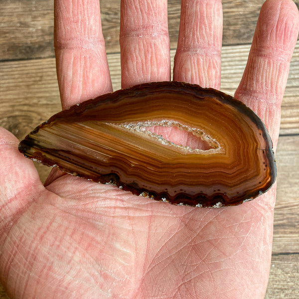 "Natural Agate Slice (Approx 3.9"" Long) w/ Quartz Crystal Druzy Geode Center"