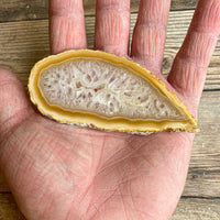 "Natural Agate Slice (Approx 3.8"" Long) w/ Quartz Crystal Druzy Geode Center"