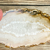 "Natural Agate Slice (Approx 4.0"" Long) w/ Quartz Crystal Druzy Geode Center"