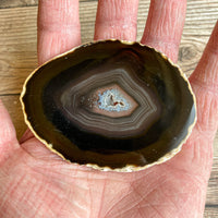 "Natural Agate Slice (Approx 3.15"" Long) w/ Quartz Crystal Druzy Geode Center"