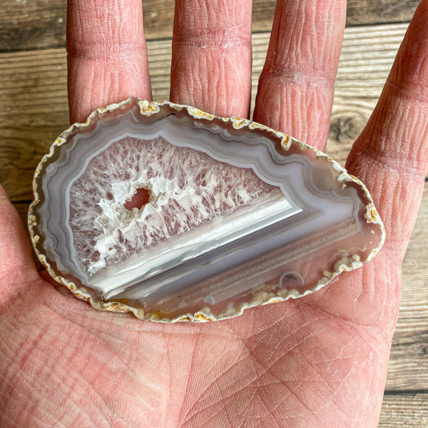 "Natural Agate Slice (Approx 3.4"" Long) w/ Quartz Crystal Druzy Geode Center"