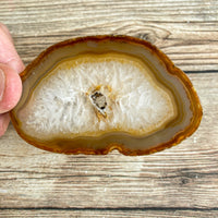 "Natural Agate Slice (Approx 3.1"" Long) w/ Quartz Crystal Druzy Geode Center"