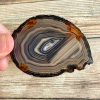 "Natural Agate Slice (Approx 3.0"" Long) w/ Quartz Crystal Druzy Geode Center"
