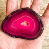 "Pink Agate Slice (Approx 3.25"" Long) with Quartz Crystal Druzy Geode Center"