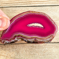 "Pink Agate Slice (Approx 3.5"" Long) with Quartz Crystal Druzy Geode Center"