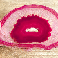 "Pink Agate Slice (Approx 3.05"" Long) with Quartz Crystal Druzy Geode Center"