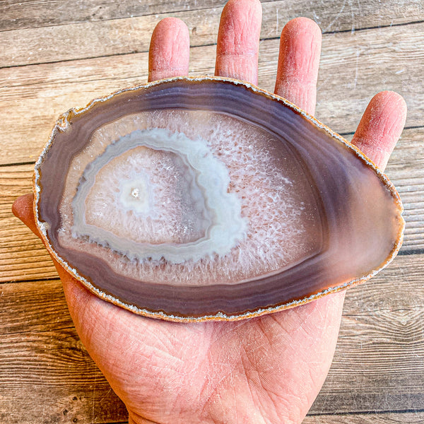"Large Natural Agate Slice - Approx 5.9"" Long - Large Agate Slice"