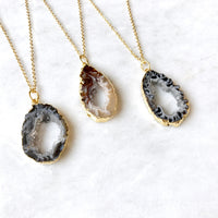 Small Geode Necklace Druzy Slice Dainty Boho Gift For Her Bridesmaid Gift