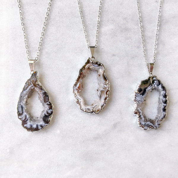 Small Silver Geode Necklace Bridesmaid Gift Druzy Slice Dainty Boho Gift For Her Plated